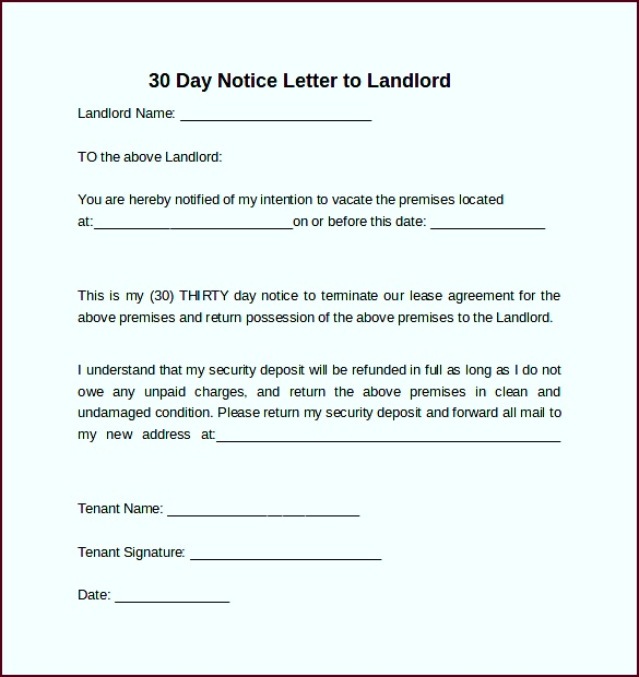 Letter landlord 30 day notice relevant including 9 sample days letters in word pyuof