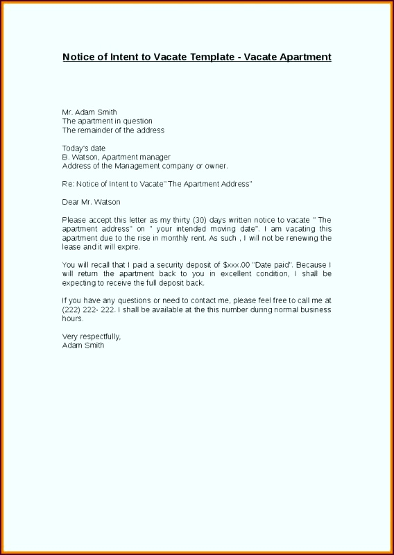 Resume Template Notice To Vacate Apartment Notice To Vacate uorre