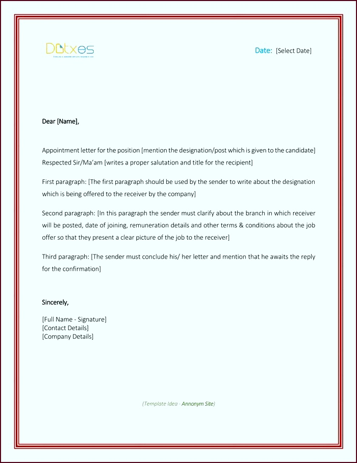Appointment Letter Sample in Word Format ityut