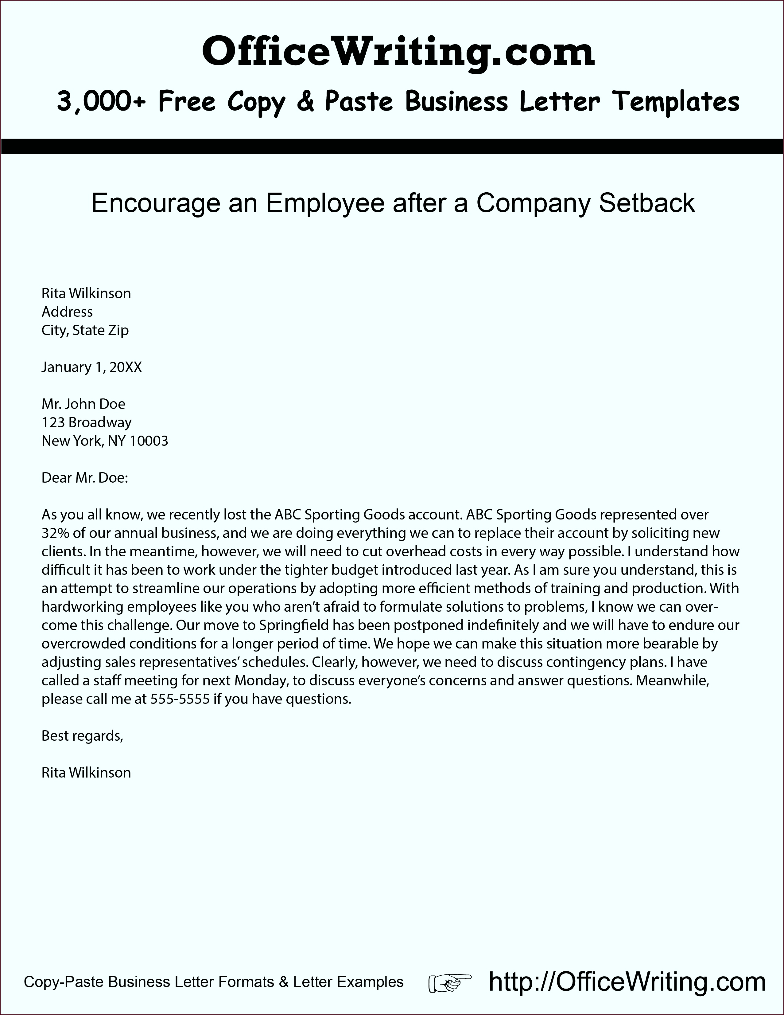 Letter Templates Unique Encourage An Employee after A Pany Setback Ficewriting Letter Templates Unique Example oiaee