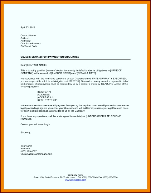 demand for payment letter template toaew