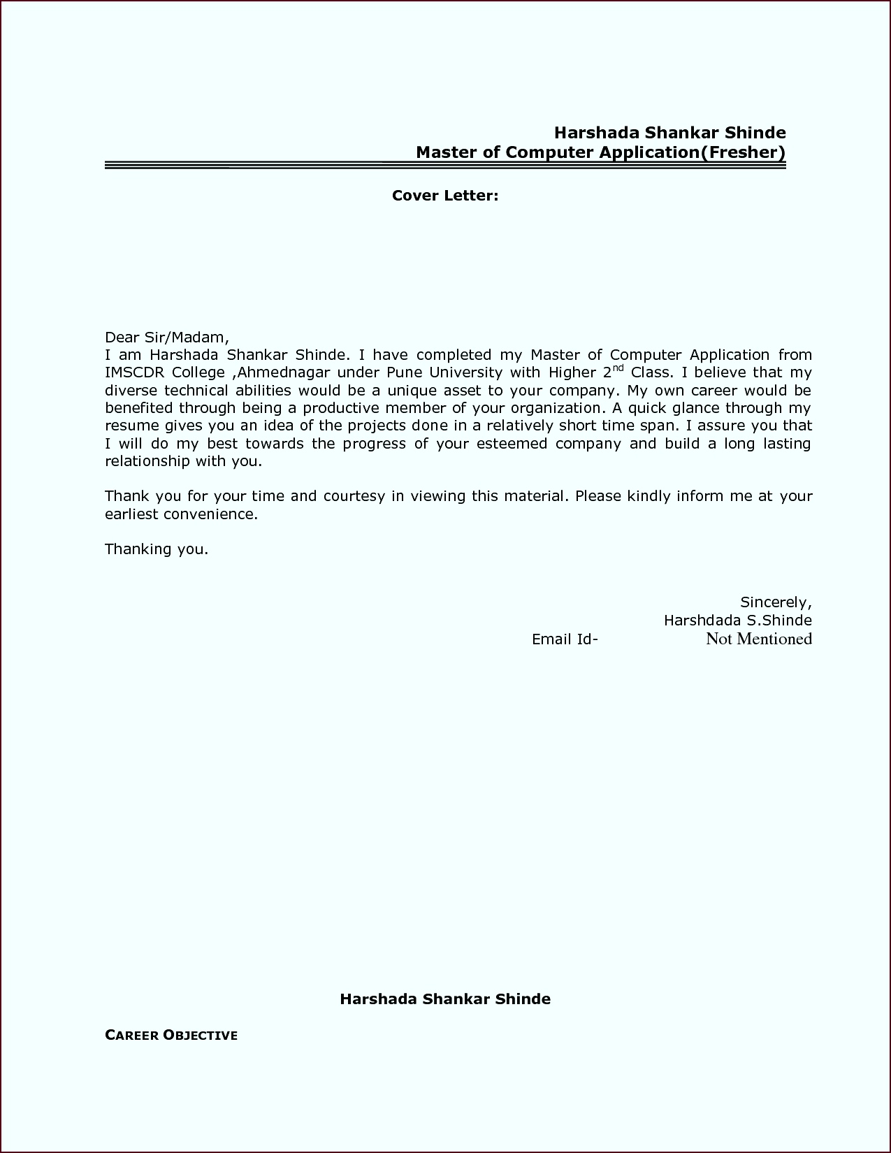 Best Resume Cover Letter Format For Freshers Govt JobCover Letter For Resume Cover Letter Examples iemuo