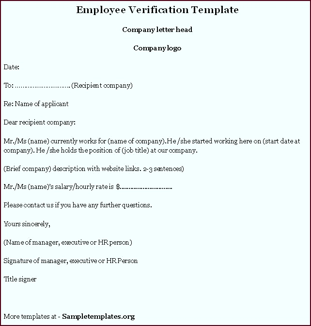 Employee Letter Templates 40 Proof Employment Letters example of employment verification letter iuezy