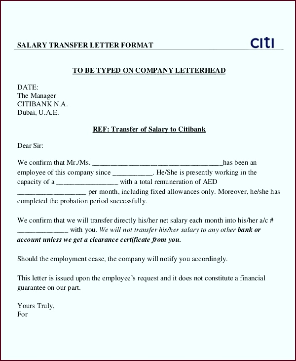 Employees Salary Transfer Letter to Bank citi Details File Format rseya