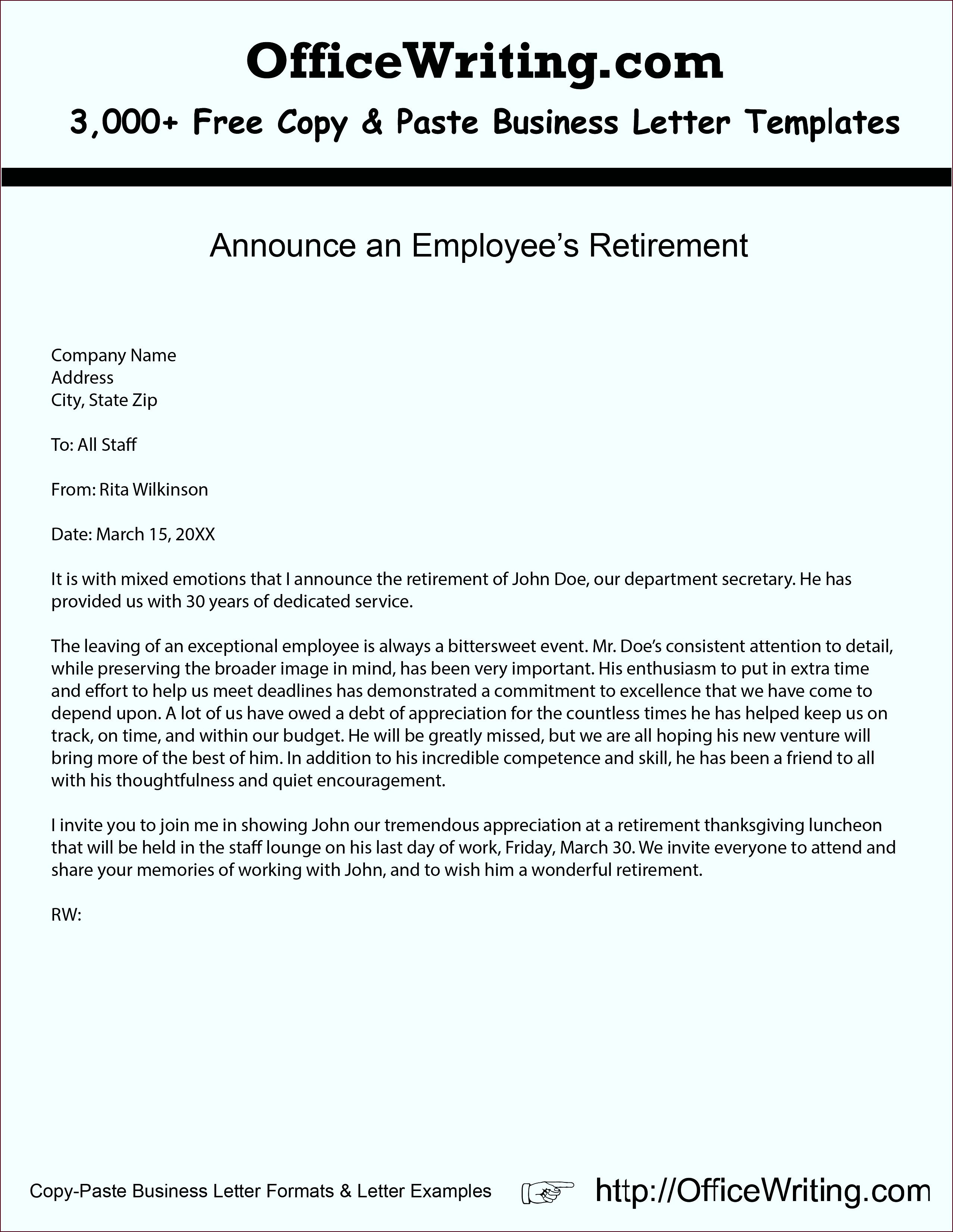 Announce an Employees Retirement We have over 3 000 free sample letters letter templates rtpeo