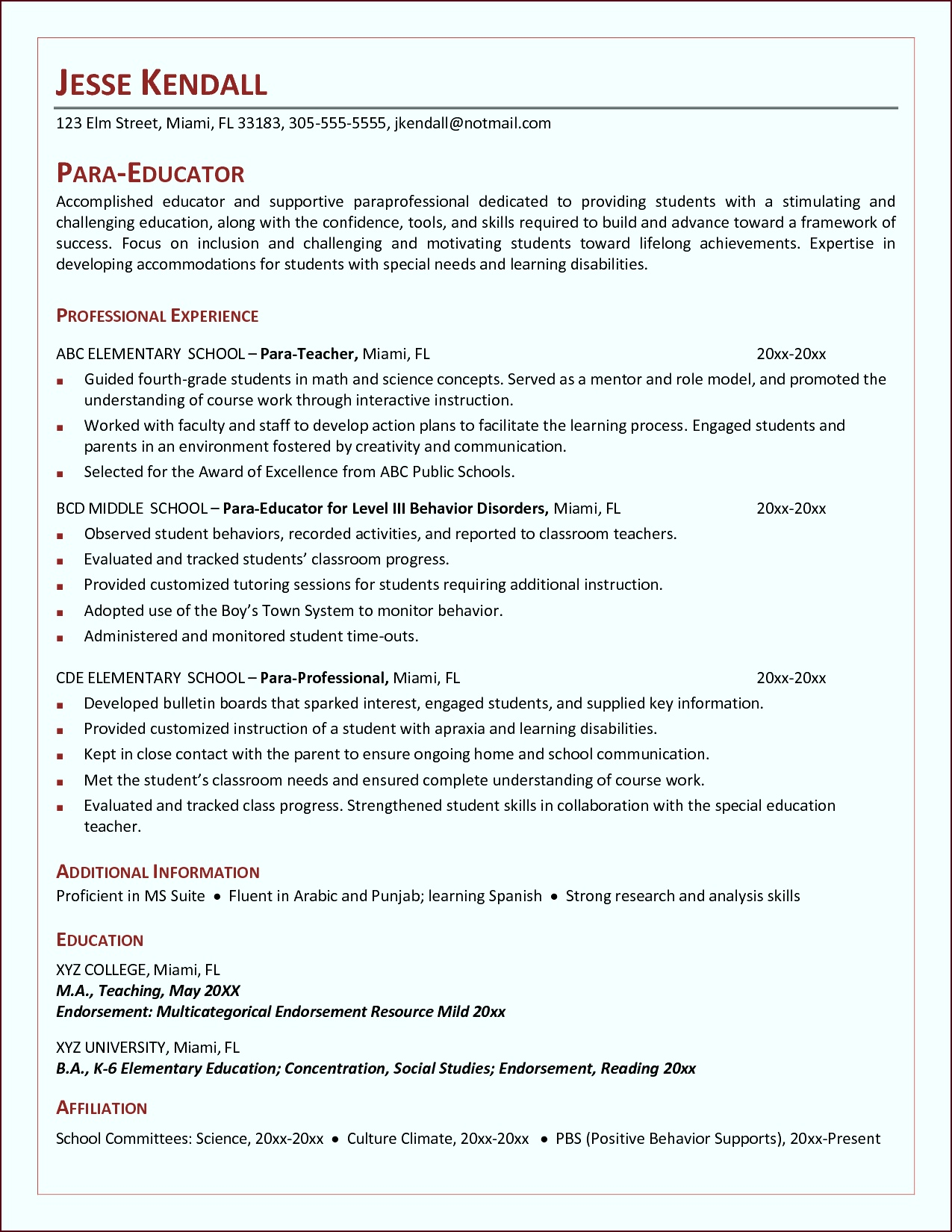 cover letter for teachers aide Impressive Design Ideas Paraprofessional Resume 14 Teacher Aide tratt