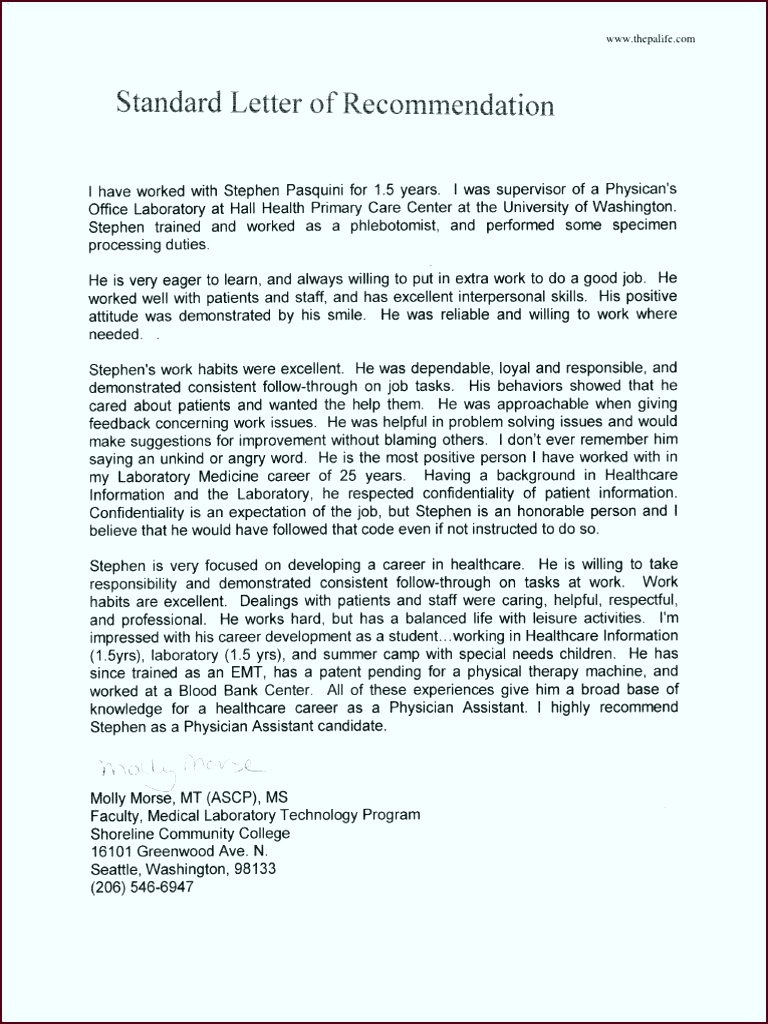 My Physician Assistant Applicant Letter of Re mendation Sample 1 eyyio