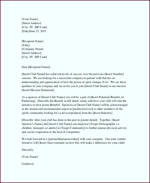 Request for Sponsorship Letter Template eeutt