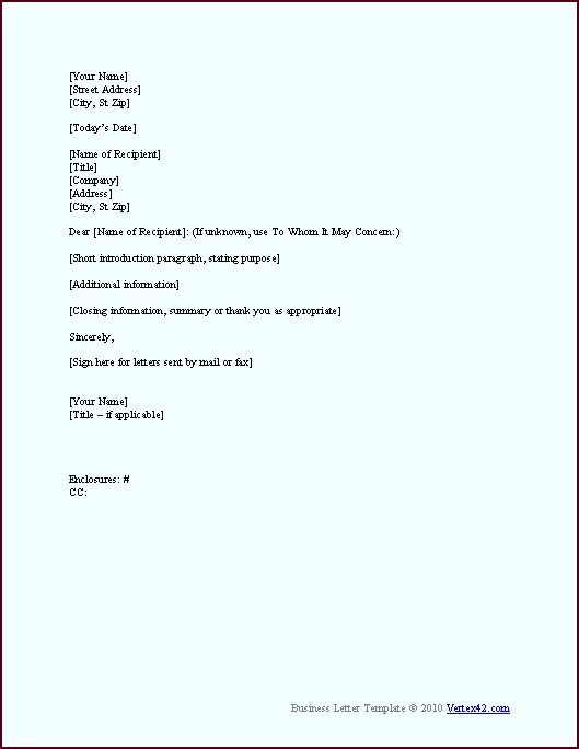 Download the Business Letter Template from Vertex42 oewat