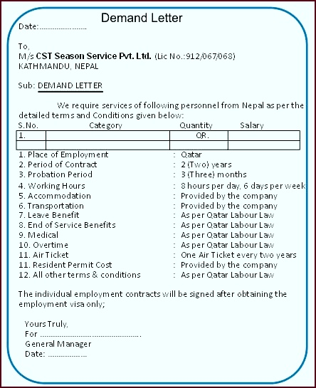 Demand Letter Template Sample 17 Lovely Agreement Letter In Nepali iteti