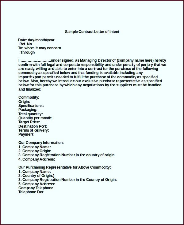 40 Letter of Intent Templates Free Word Documents Download wiyow