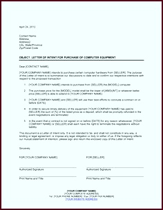 purchase order letter format Letter of Intent for Purchase of puter Equipment Template apnwi