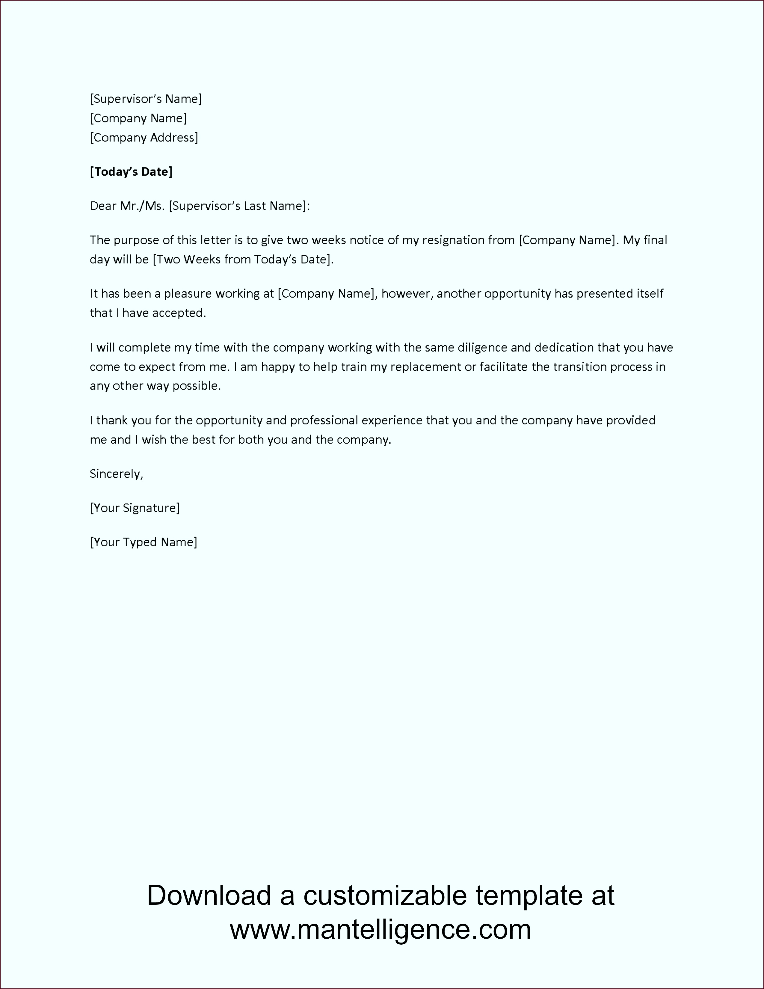 3 Highly Professional Two Weeks Notice Letter Templates aaaua