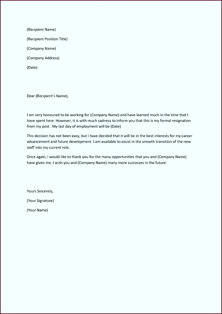 template for letter of resignation uuuab