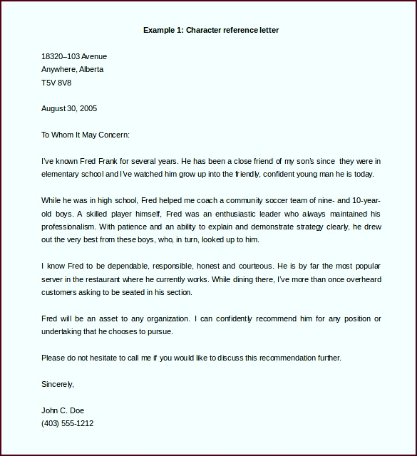 Free Character Reference Letter Template Example Word Doc apruo