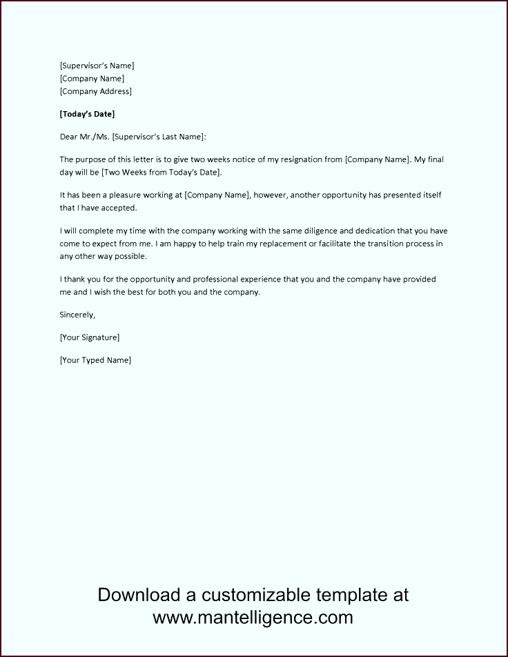 3 Highly Professional Two Weeks Notice Letter Templates tioip