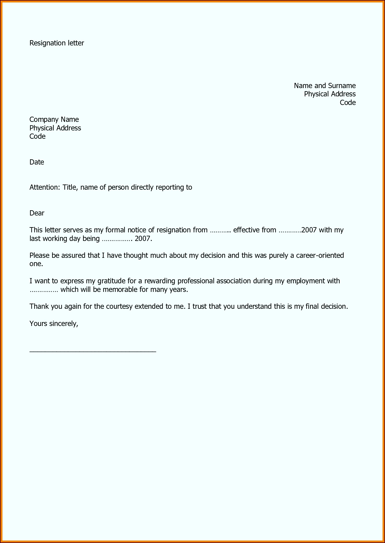 Example resignation letter two weeks notice 11 40 two weeks sample thank you letter after interview fax cover sheet yetei