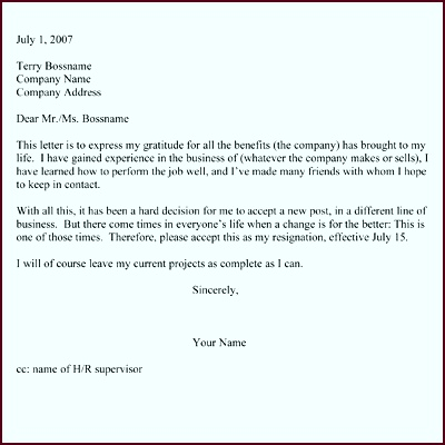 Resignation Letter Two Week Notice Sample tcprp