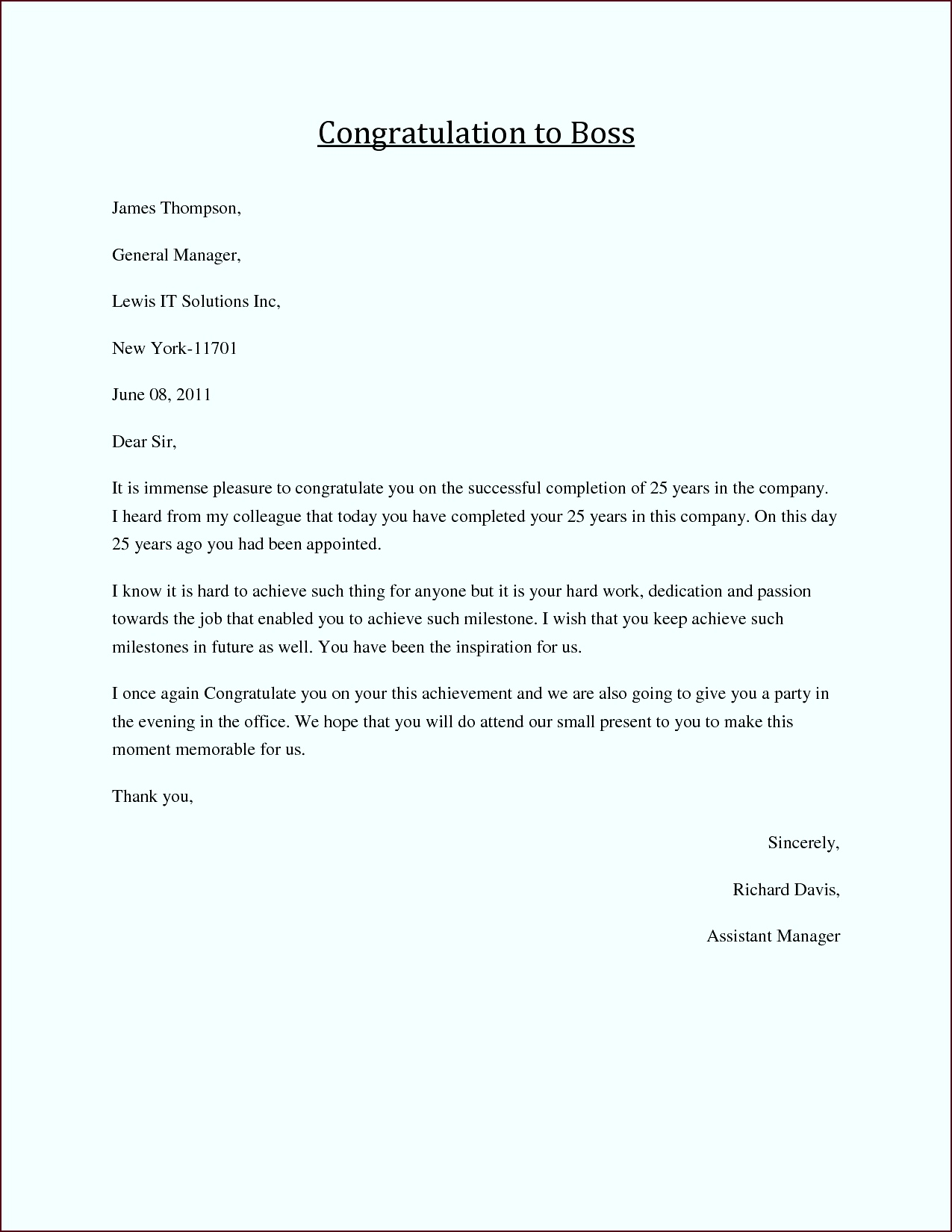 Congratulations Letter to Boss Job congratulations formal business letters and greeting messages to boss ttper