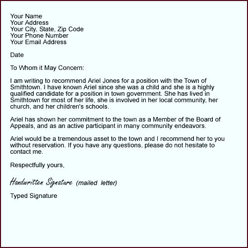 Sample Letter Formats Personal Reference Letter Example tnutu