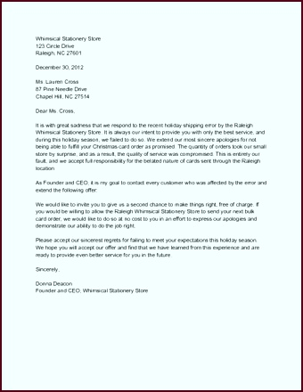 Sample Apology Letter from Business ttyyt