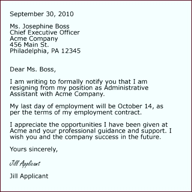 Cover Letter Format For Resignation eteep