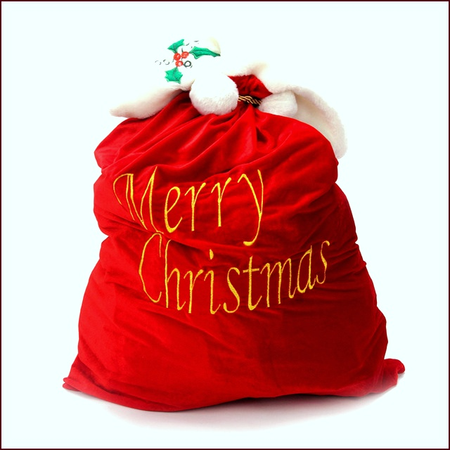 Letter Merry Christmas Packing Bag Santa claus Gift Portable Red Embroidered Box with Rope and Ball yxaay