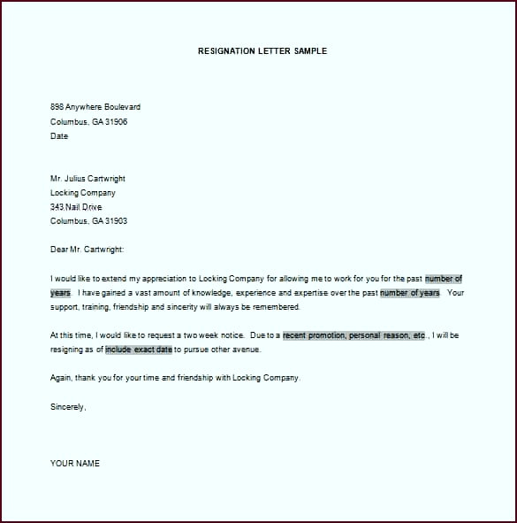 Example Resignation Letter ppywp