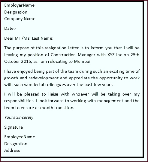 """Resignation Letter Format with reason describing the reason of resignation as """"Reason For Relocation"""" upouy"""