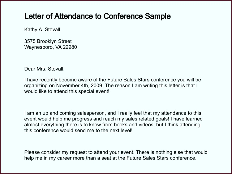 letter of attendance to conference sample 91 0 tprer