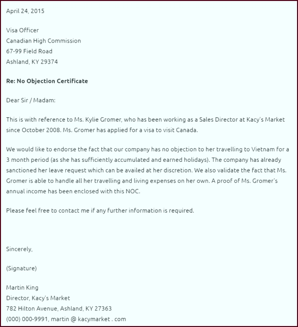 How To Obtain A Free No Objection Letter Template For Visa With No Objection Letter Format Noc Letter From Employer ueyaa
