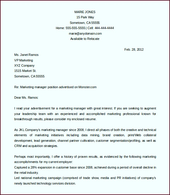 marketing manager cover letter template free word doc utcoy