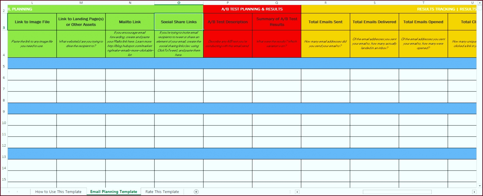 Great Excel Email Marketing Planning Template oepot