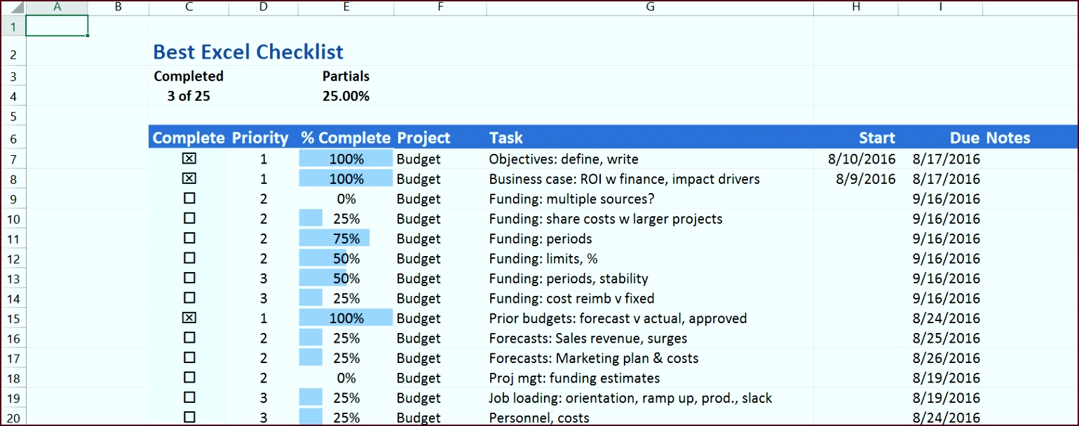 The Best Excel Checklist uses no Visual Basic but has a great set of features eiwrt