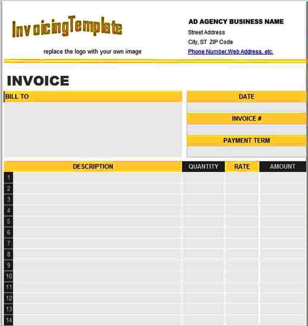 Advertising Invoice Template Agency 6002100
