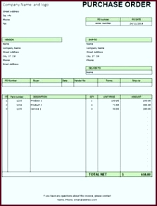 Excel purchase order template auuei