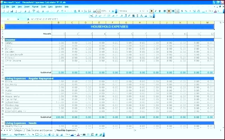 excel monthly bill template bills free co for numbers household expenses spreadsheet uwqro