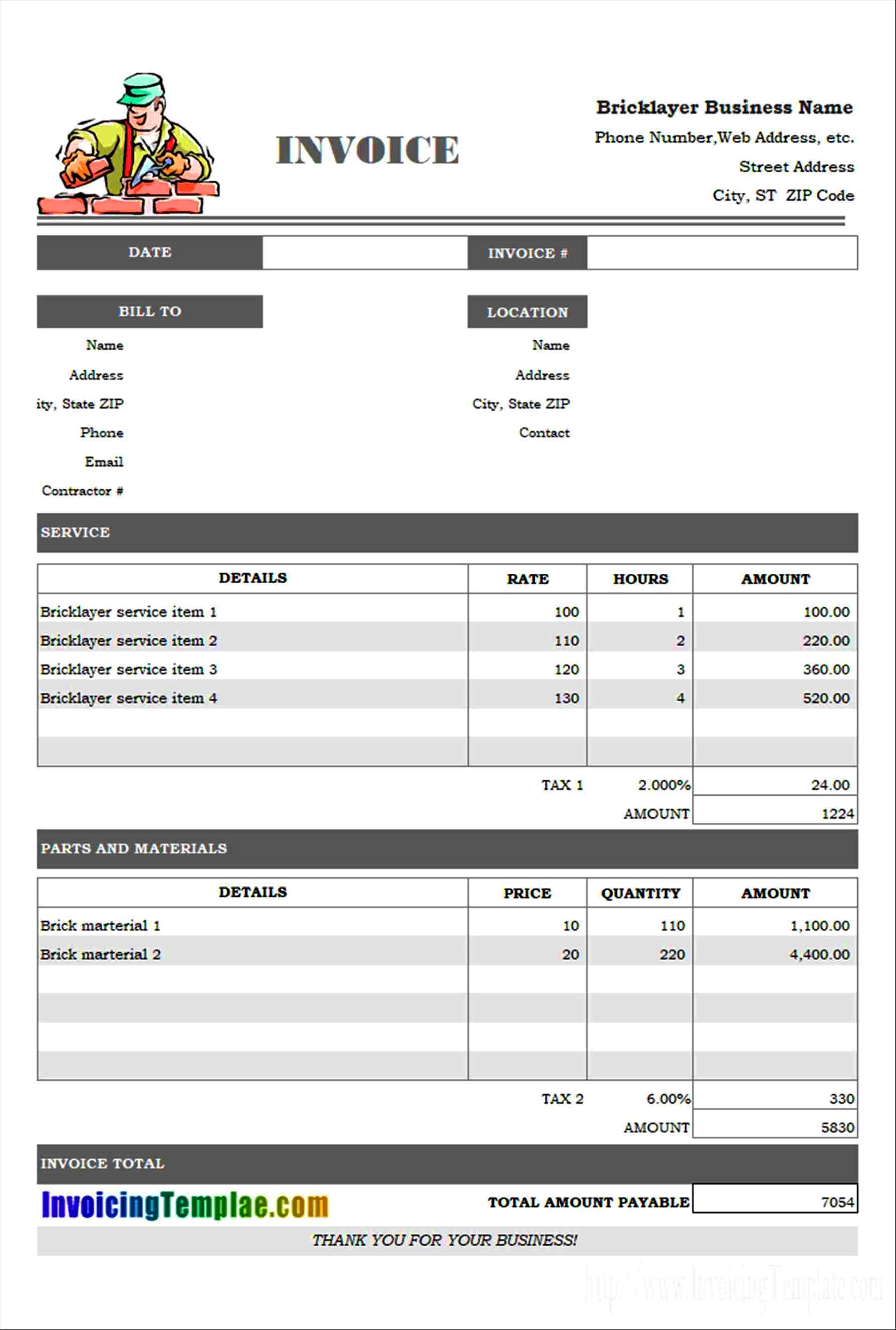 Excel Invoice Template H782091