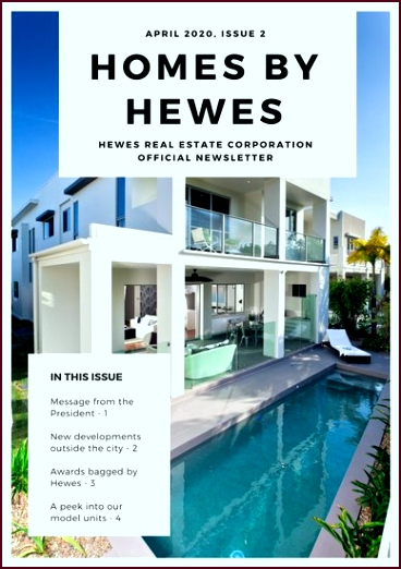 Blue and White Modern Real Estate Newsletter uyaaw