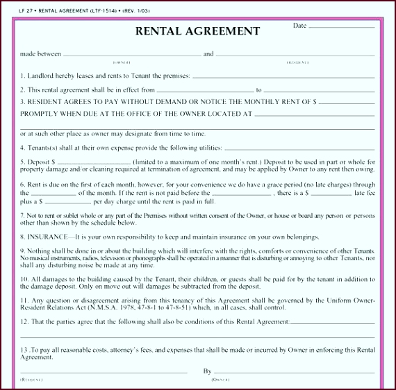 residential lease agreement car contract form template free eeuwr
