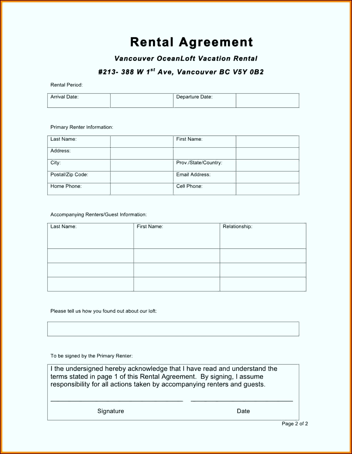 Enchanting Rental Agreement Form Template Pattern Administrative titra