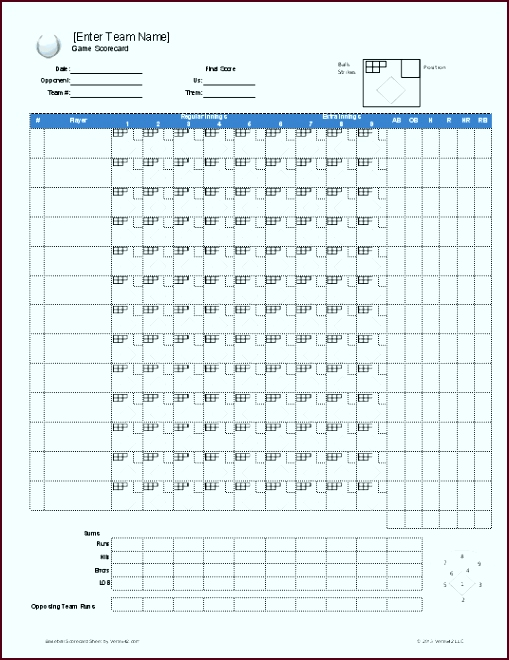 Download a free Baseball Roster Template for Excel featuring a baseball lineup sheet with auto rotation and a printable baseball scorecard rwwri