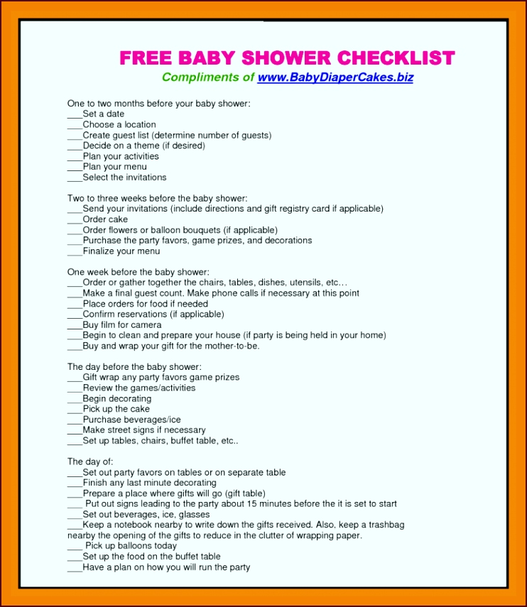 9 baby shower check list time table chart rouwr