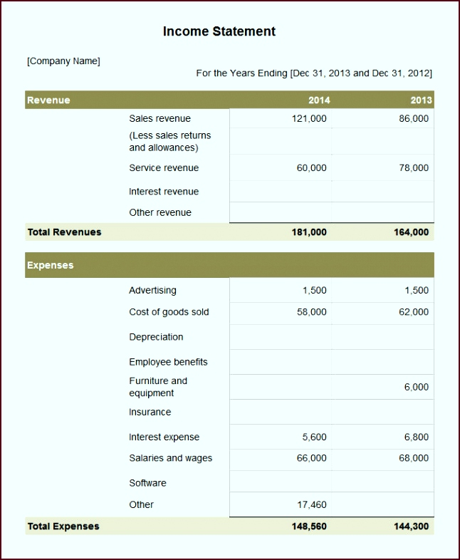 Income Statement Template Hobelb Luxury 7 Sample In E Statement Templates for Summarizing Profit and Loss646786jcay