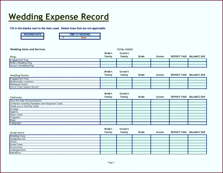 Printable Wedding Bud Spreadsheet Unique Fillw To Make Bud Excel How A Cost Planner riaiu