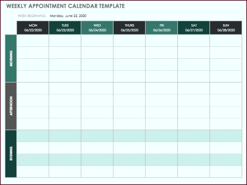 Weekly Schedule Template Monday through Sunday Template tpeyo