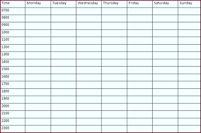 Weekly Time Calendar Template Weekly Time Schedule Template Time Schedule Template Pdf evtei