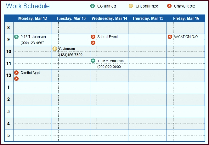 Work Schedule With Icons puuti