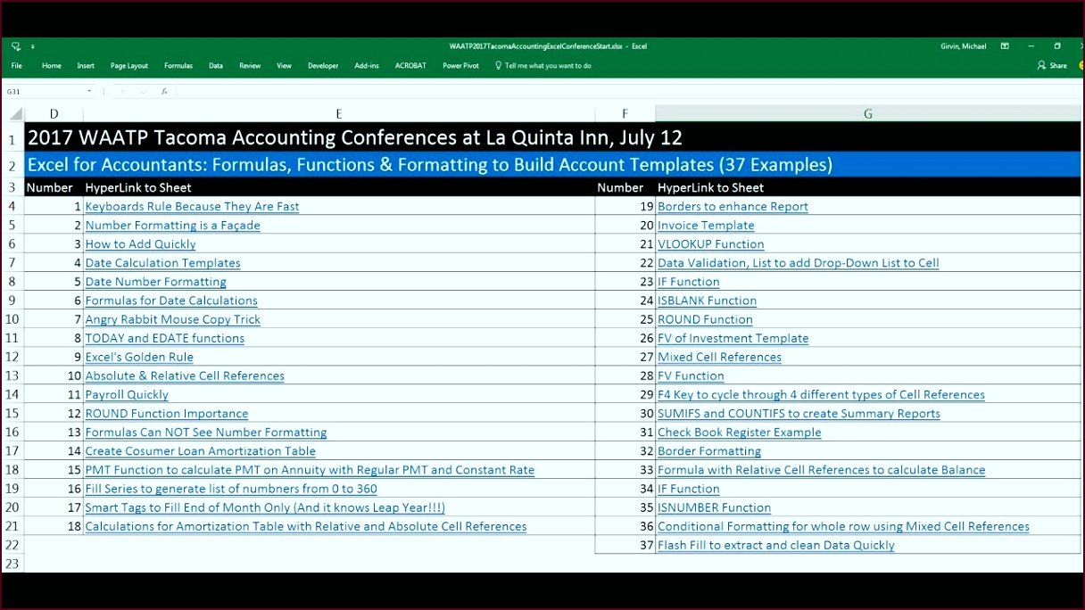 Excel for Accountants Formulas Functions & Formatting to Build Account Templates 37 Examples itgep
