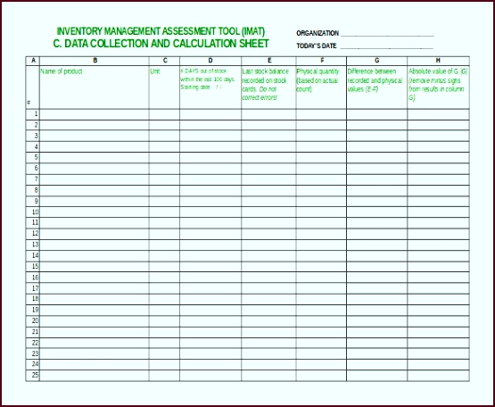 Inventory Management Assessment Tool Free Excel Sheet eprii